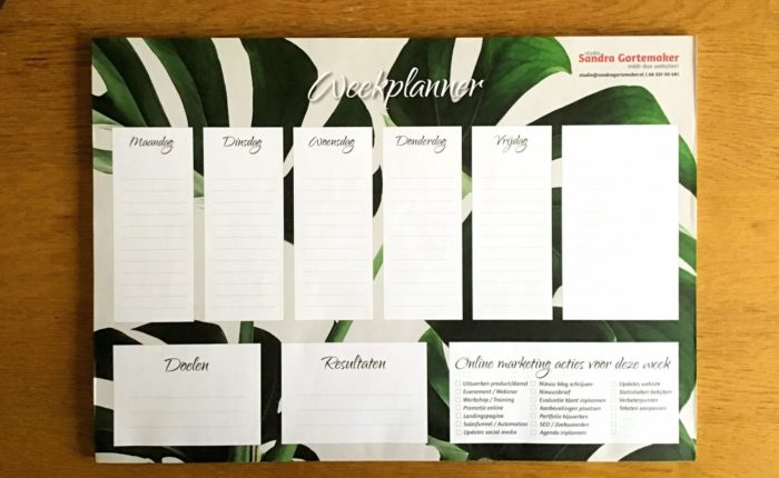 Weekplanner voor je online marketingacties